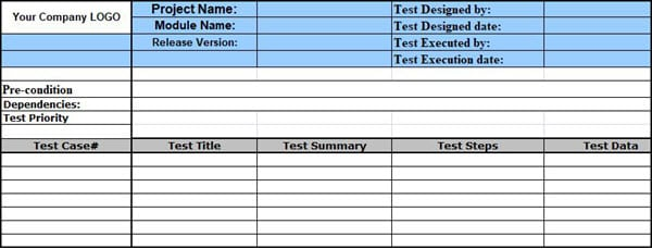 Test case template format