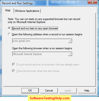QTP Record and Run settings