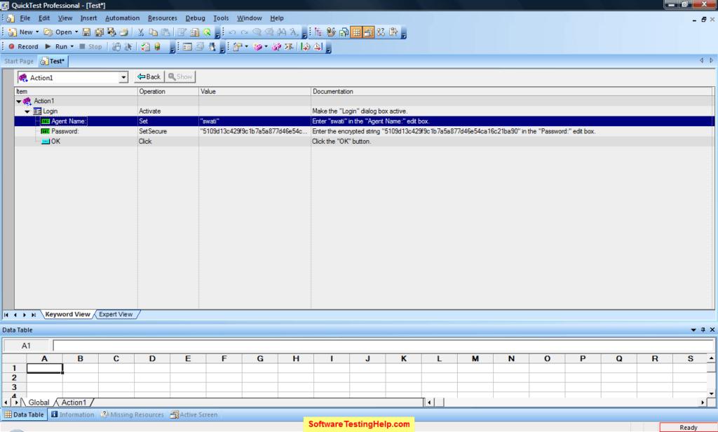 QTP keyword view