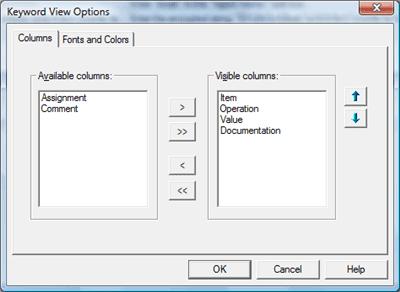 keyword view options