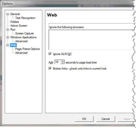 Web Tab on Record and Run Settings Dialog