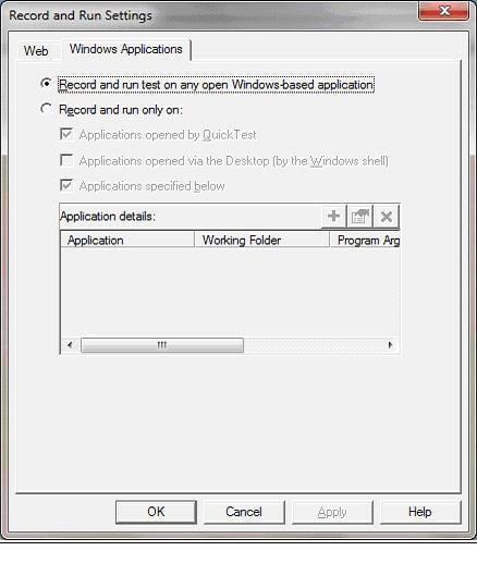 Windows Tab on Record and Run Settings Dialog