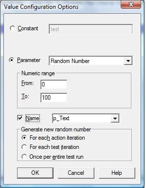 QTP random number parameterization