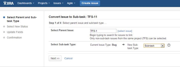 JIRA Converting issues into sub task