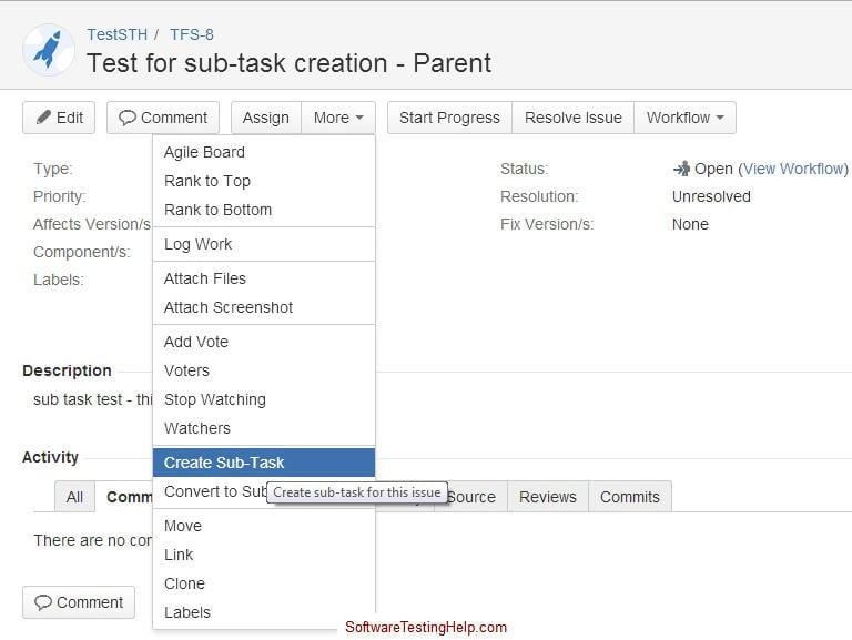 JIRA Creating a sub-task