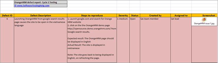 OrangeHRM Defect Report