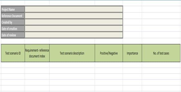 test scenarios template