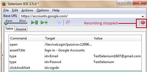 Selenium IDE script 9