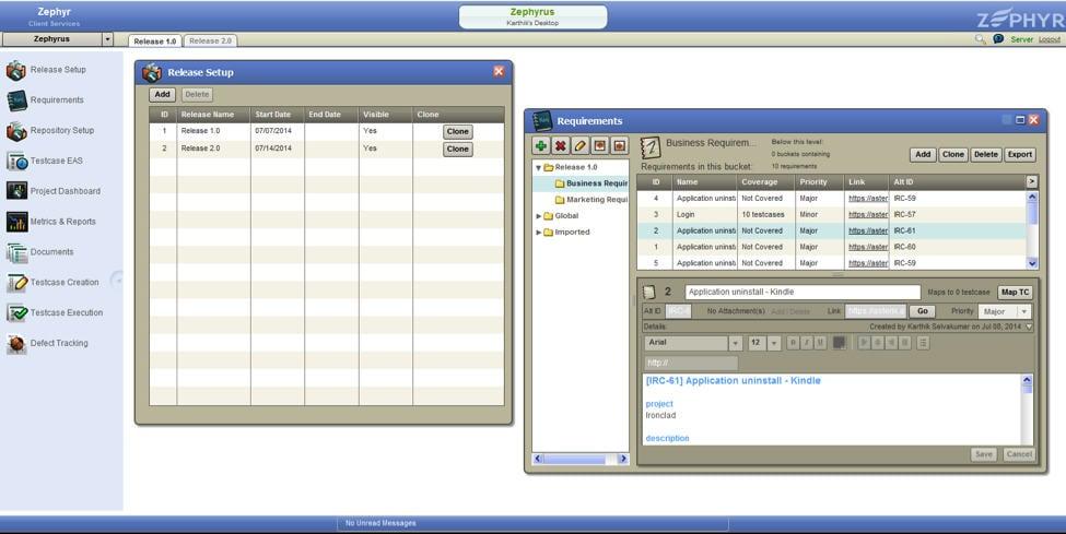 Zephyr Enterprise User Interface 1