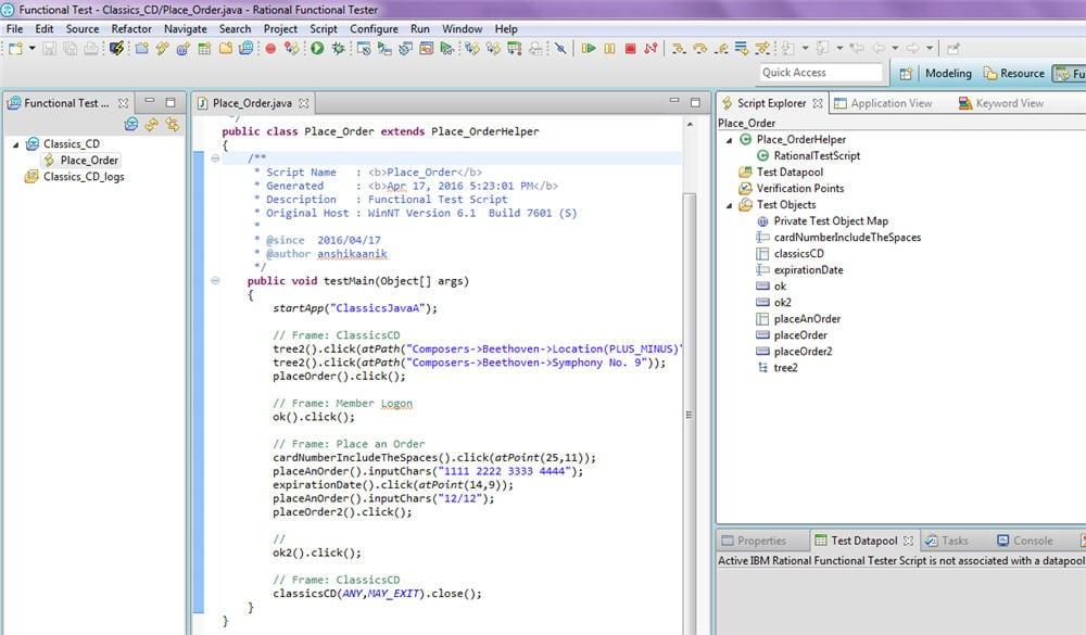 sample RFT script