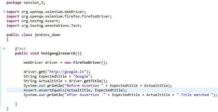TestNG code
