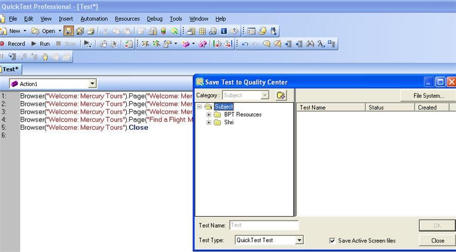 folders as per the Test Plan