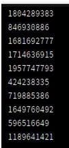 random numbers Output