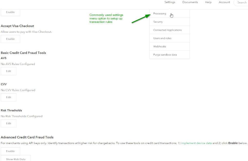 settings menu