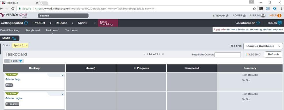 v1 taskboard page