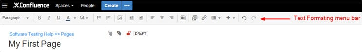 Text formatting menu Bar