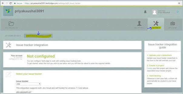 Issue Tracker Integration Screen
