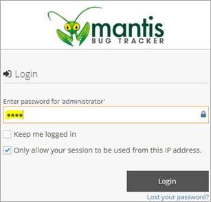 Mantis Login Screen