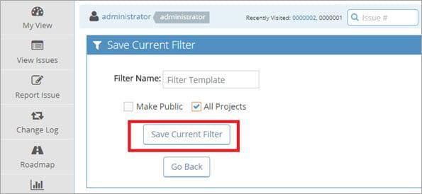 Save Filter Screen