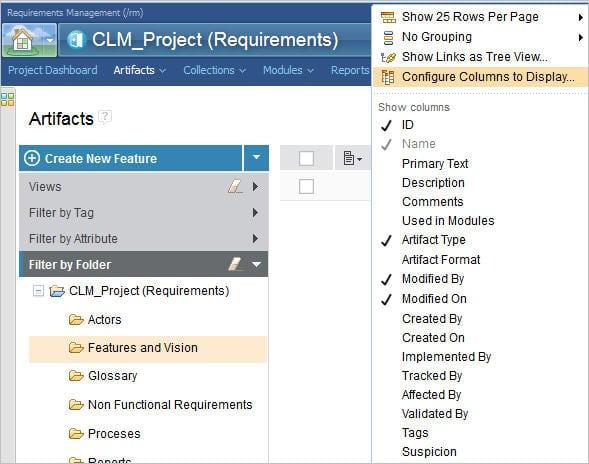 Configure Columns to Display