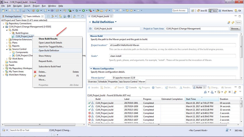 RTC Deploy Build Settings