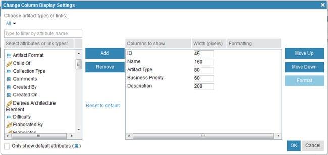 change column dislay settings