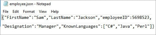Creating JSON file with array