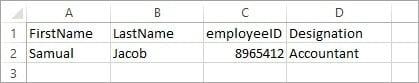 JSON Excel Data