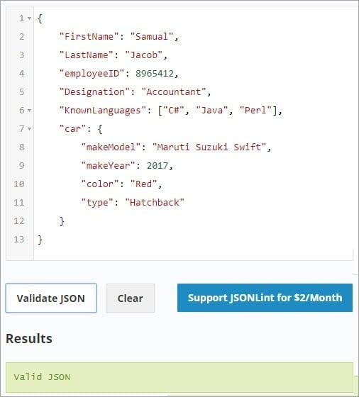 Validating JSON