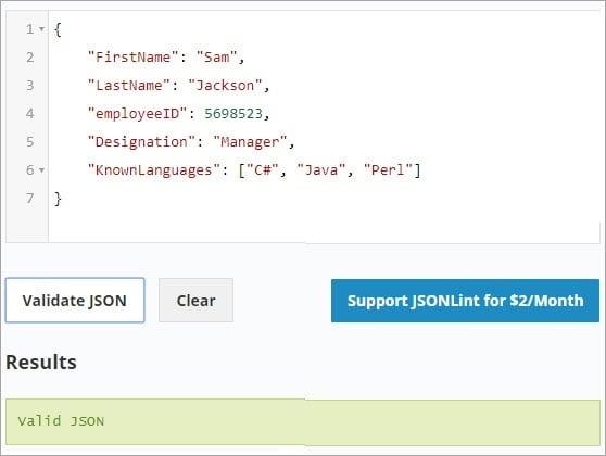Validating JSON with given data set