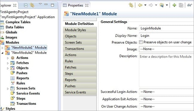 Selection Newly created module