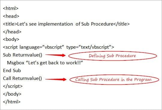 Defining Sub Procedure