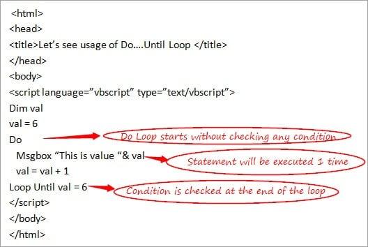 VBScript Loops: For Loop, Do Loop, and While Loop