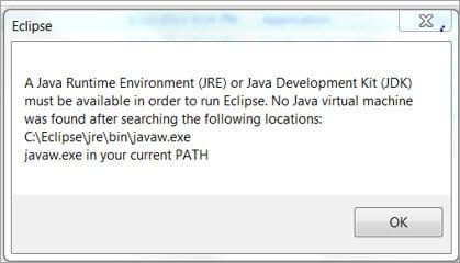JRE error pop up