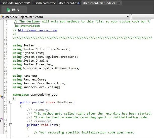 UserCode file