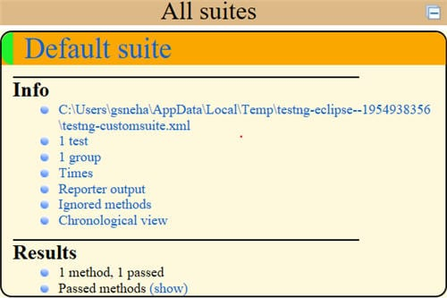 report provided by TestNG framework