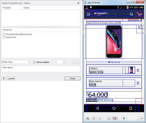 Hybrid App- object spy