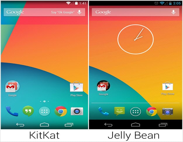 Kitkat and Jelly Bean UI