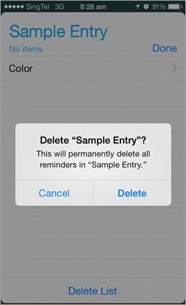 iOS Delete Confirmation