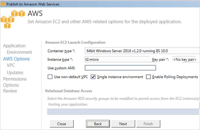 AWS Environment Screen