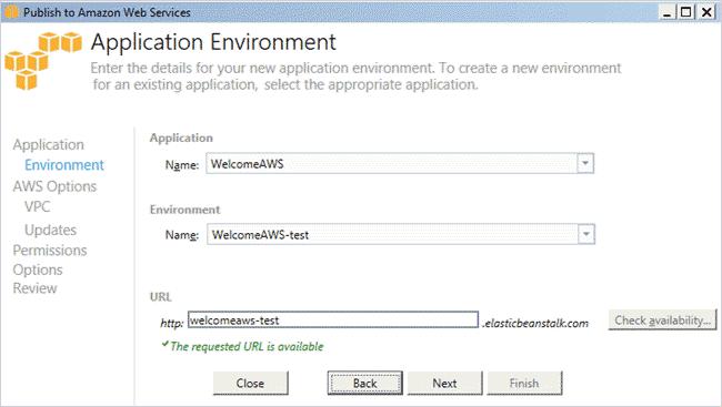 Application Environment screen