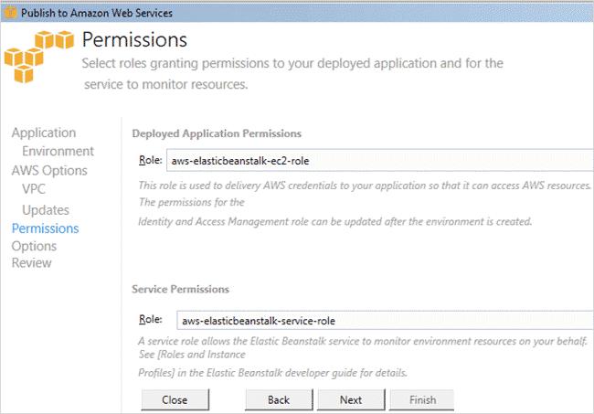 Permissions screen