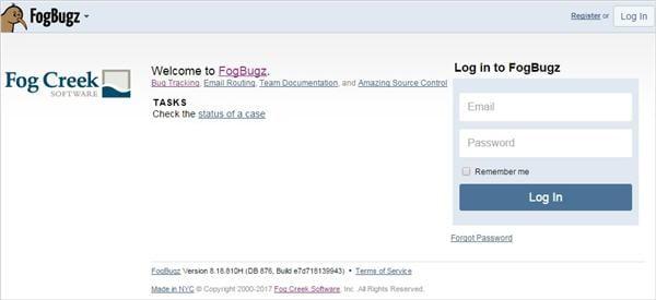 Login page Fogbugz