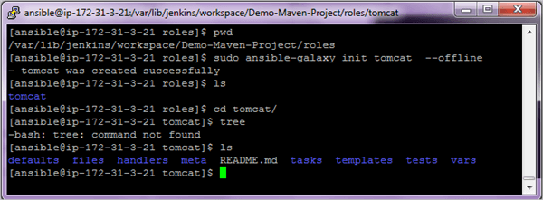 7.Create the tomcat role in the Jenkins workspace location