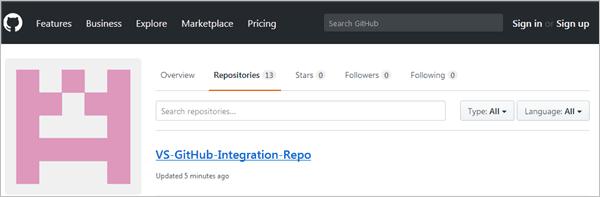 GitHub repository view