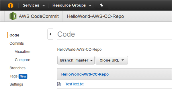 Files added to AWS CodeCommit repository