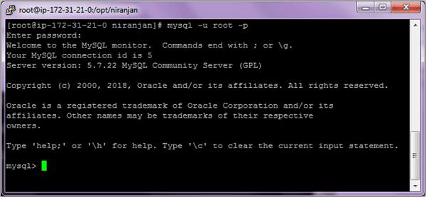 complete login to MySQL