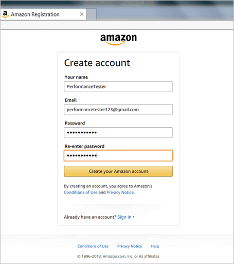 2. registering a user on the amazon.com application