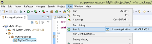 select run as and then click on Java application
