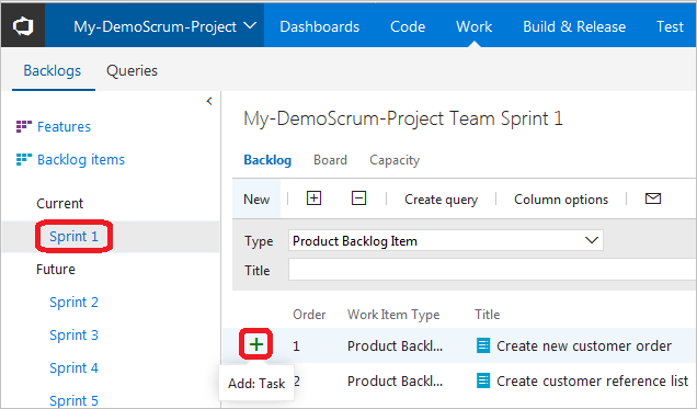 Add Task sign + for the product backlog item.